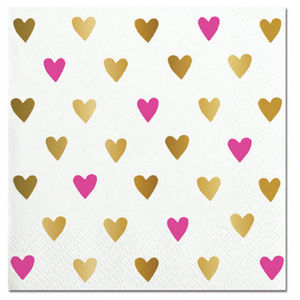Pink and Gold Foil Hearts Beverage Paper Napkins